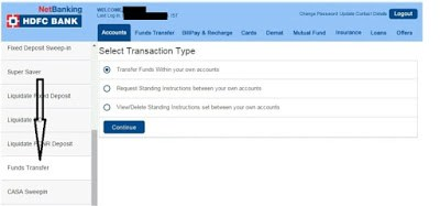 transfer money from savings to current account in HDFC 001