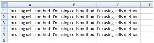 How to refer range using cells method