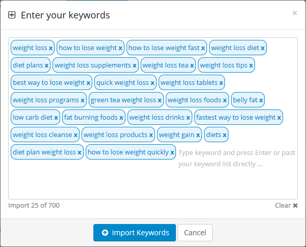 Import keywords for SEO