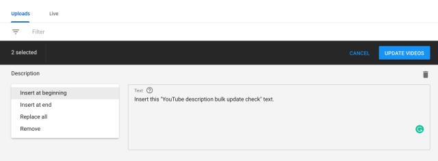 bulk update YouTube description options