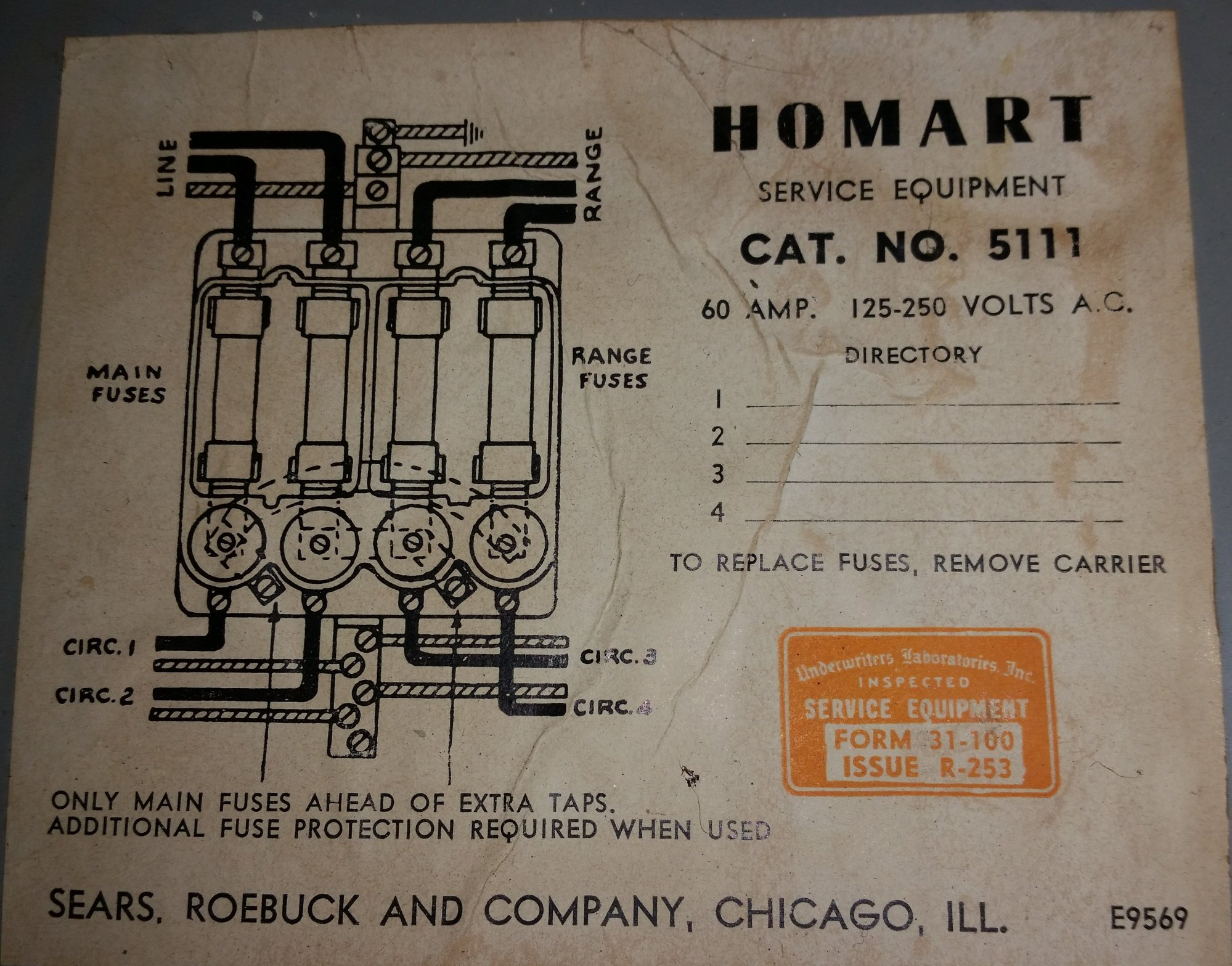 hight resolution of homart no 5111 60amp service fuse box old