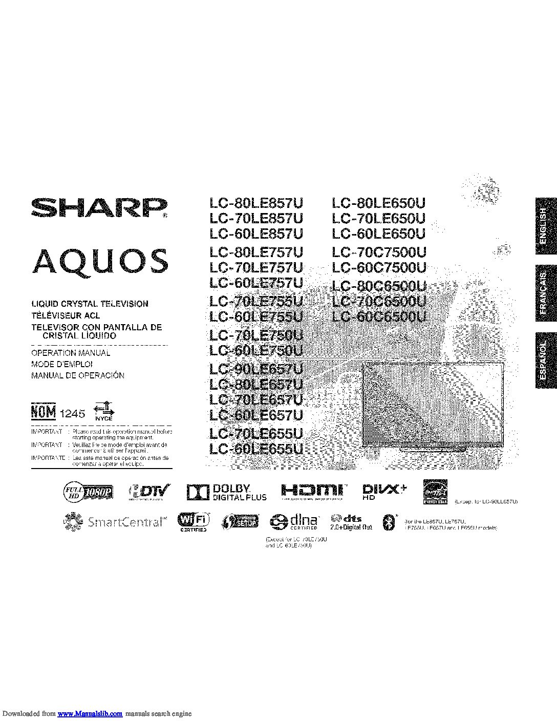 Sharp-LC-70LE650U-AQUOS-Smart-Display-Manual[1] ⋆ A