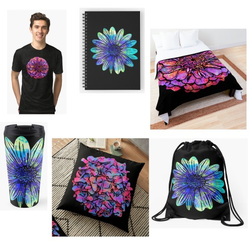 Groovy Flowers products in my RedBubble store.