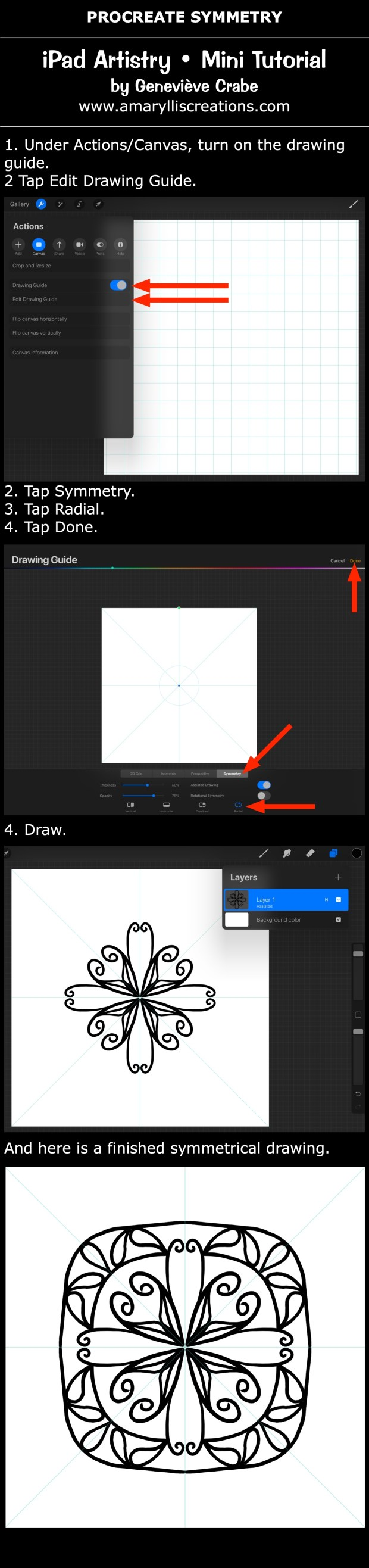 Mini tutorial: Draw with Symmetry in Procreate on iPad