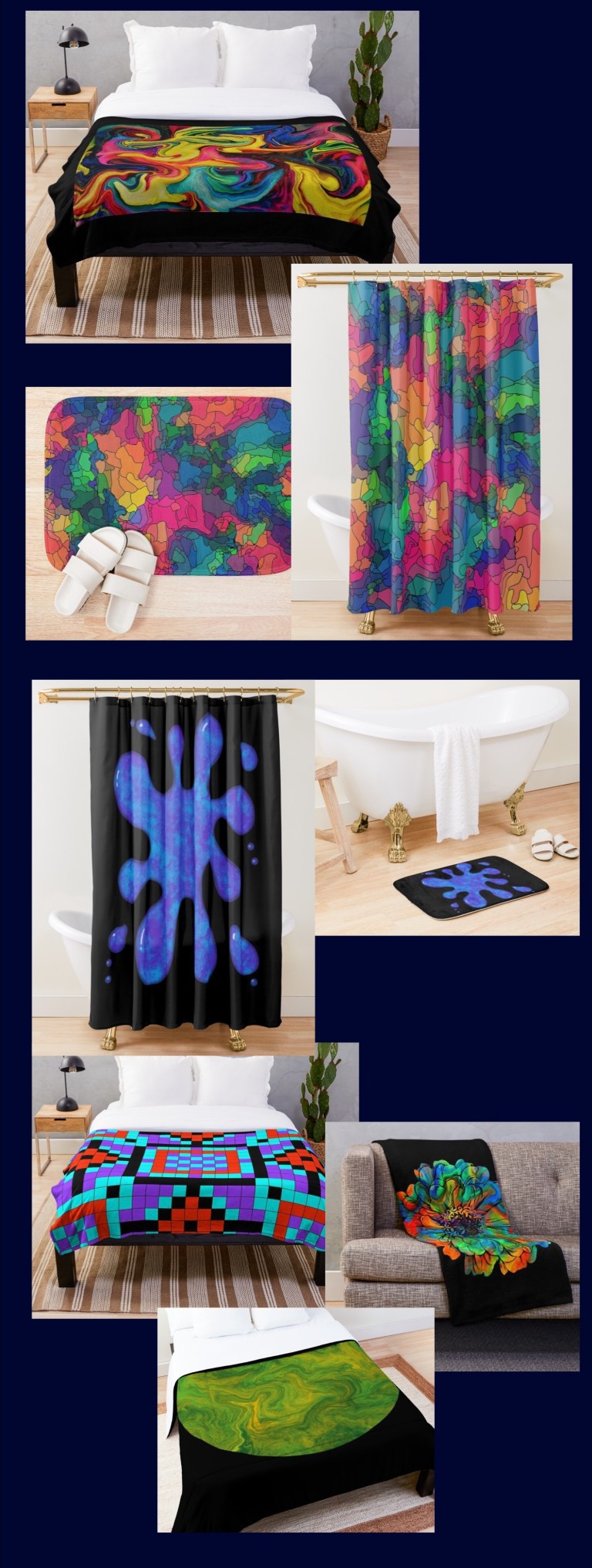 Blankets, comforters, shower curtains, bath mats, each one available in up to 25 of my designs.