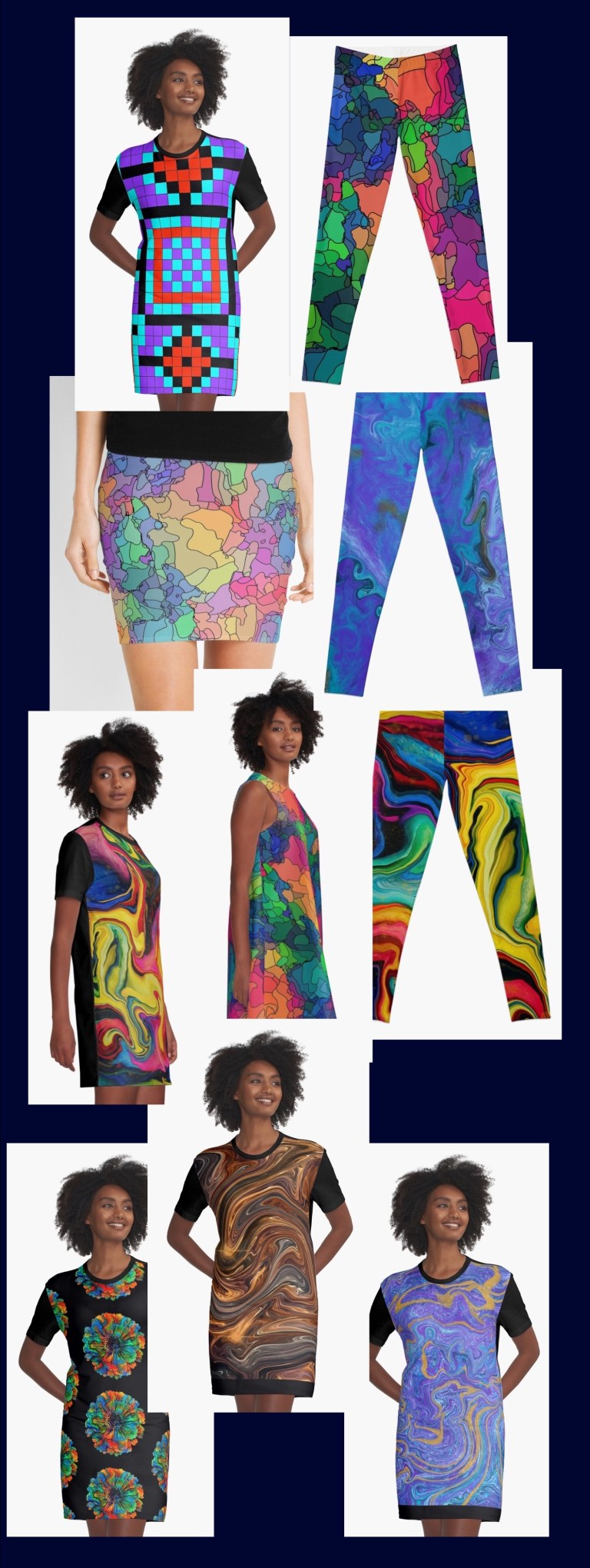 Two dress designs, skirts, and leggings, each one available in up to 25 of my designs.