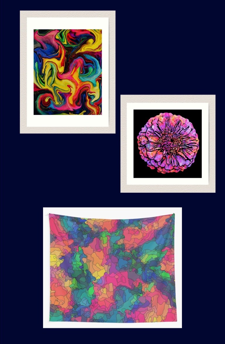 Posters, canvas prints, wall tapestries, and more, each one available in up to 25 of my designs.