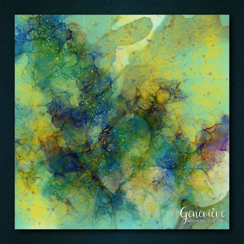 Digital alcohol ink painting using brushes by Alaina Jensen.
