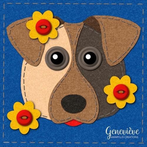 Dog portrait in faux stitching