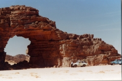 Rock arch with landcruiser for scale