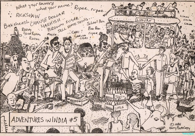 A pen and ink cartoon postcard illustrating the deluge of offers, entreaties and guidance facing the haplesss traveller in India