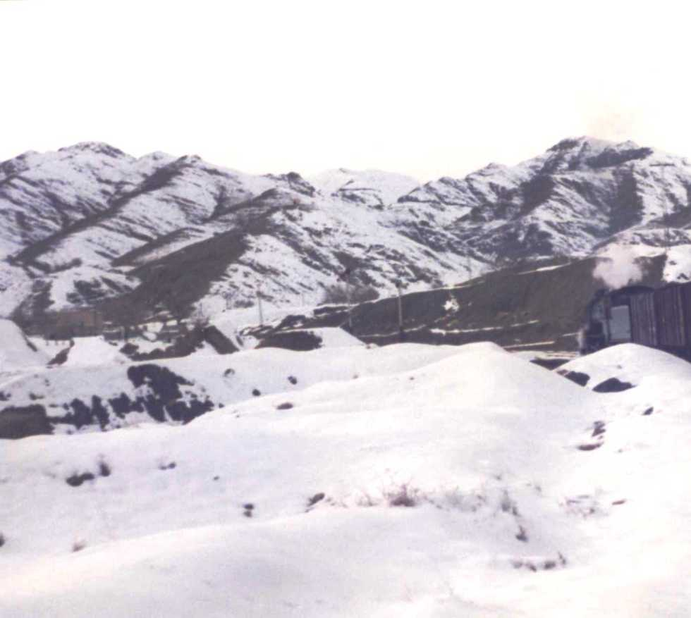 Chaman - bound train in the snow - Baraf in Pushto. The soldiers loved it !