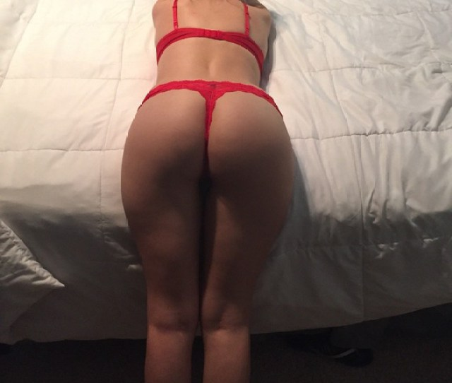 Girlfriend Bent Over Her Bed In Her Hot Red Lingerie
