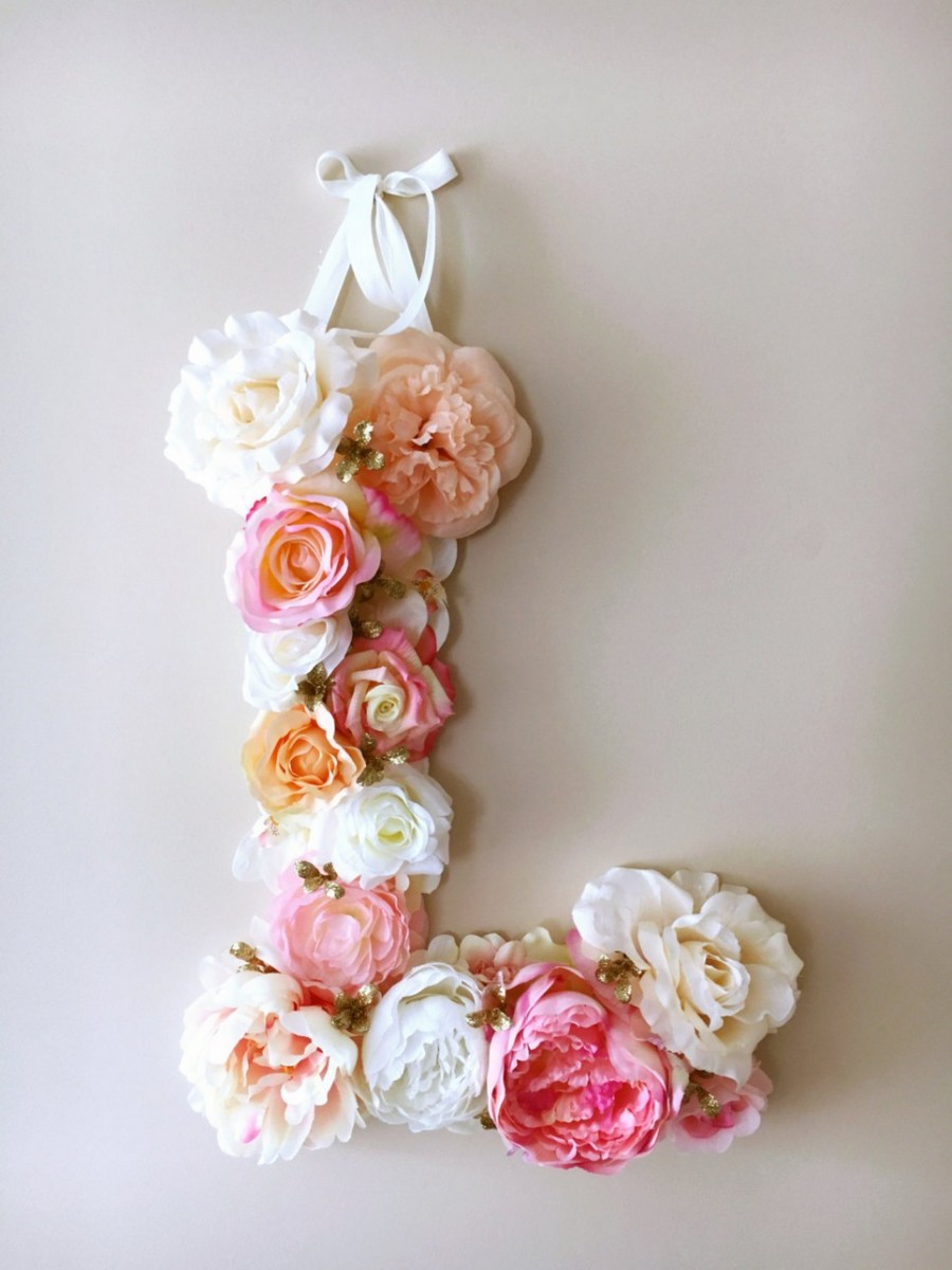 Pink And Coral Custom Flower Letter A Matter Of Style