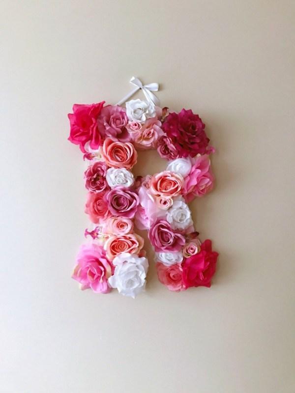 MSDAVF016 – Pink and White Custom Flower Letter – PINK