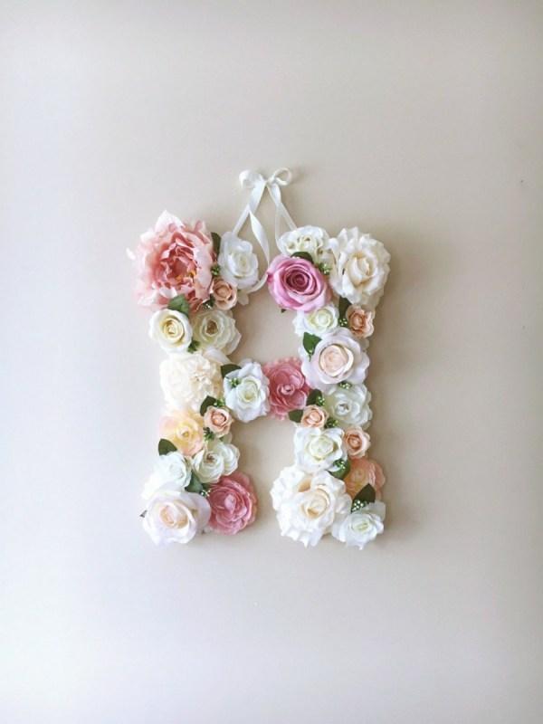 MSDAVF018 – Vintage Pale Pink Custom Flower Letter – PINK