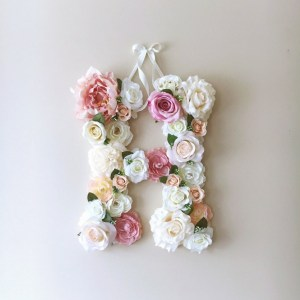 Completely handmade, the Vintage Pale Pink Custom Flower Letter is a great for decoration at a wedding using the couples initials, and a lovely keepsake for afterwards.