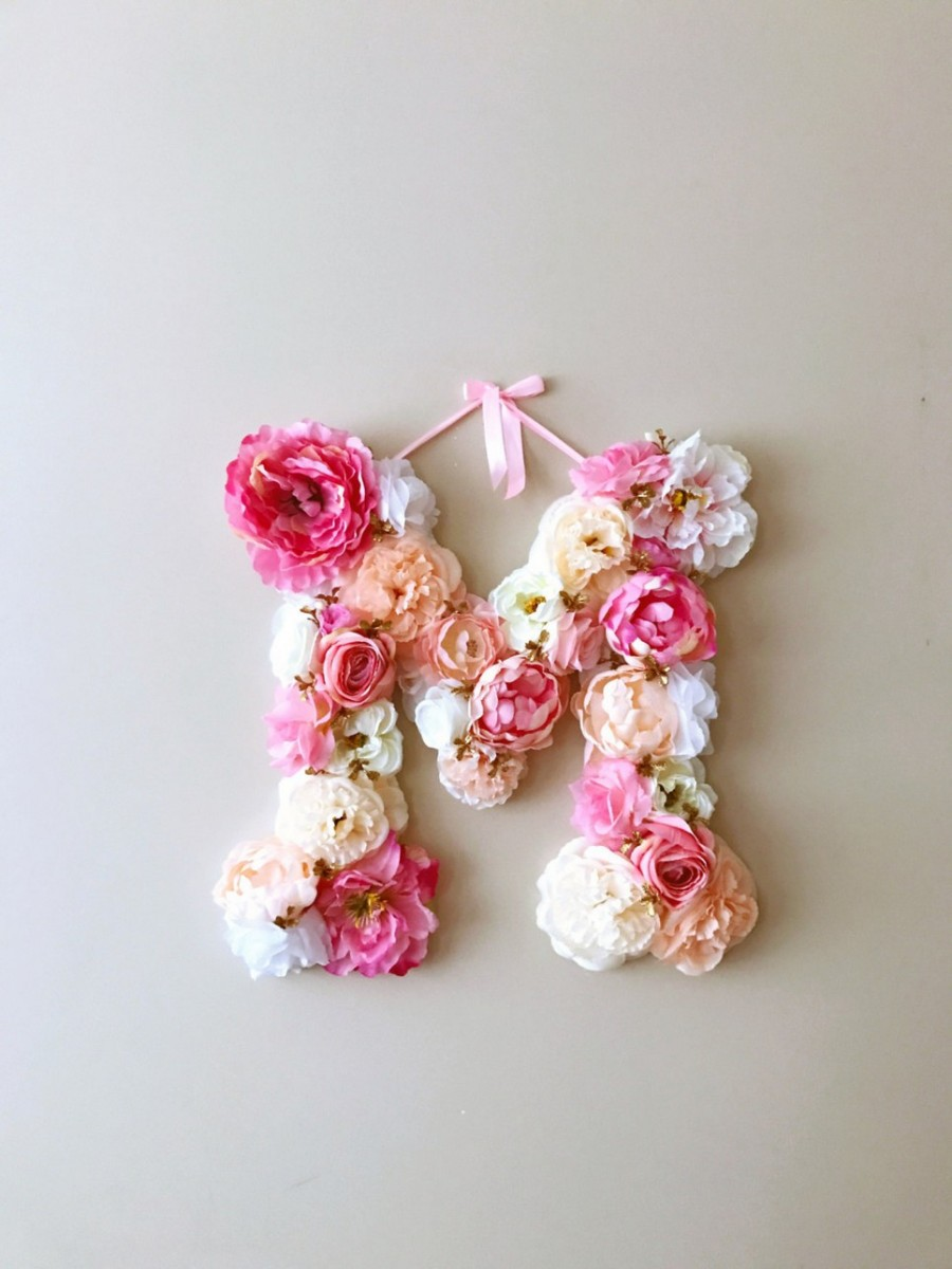 BRIGHT CORAL PINK CUSTOM FLOWER LETTER Personalised