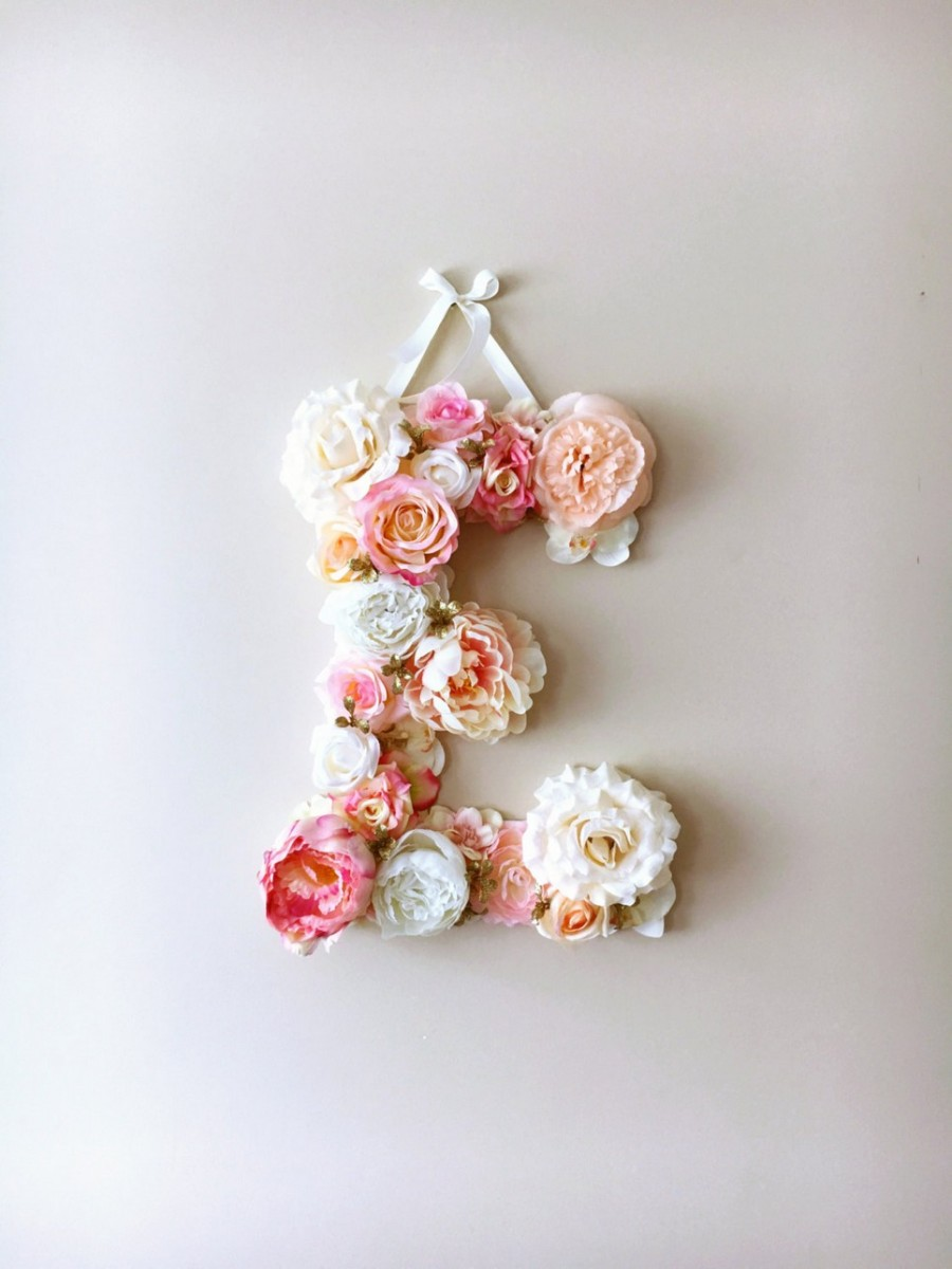 MSDAVF021 – Pink and Cream Custom Flower Letter – PINK