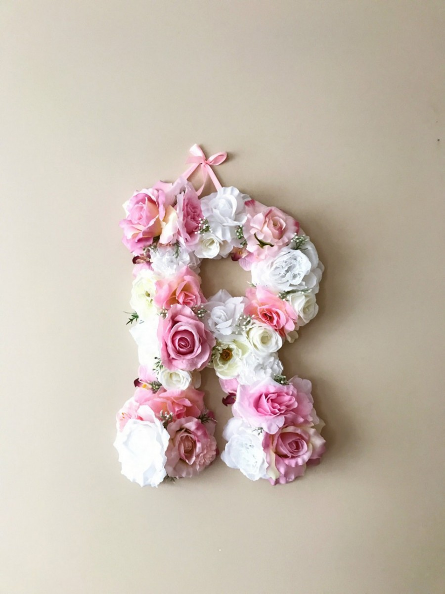 Soft Pink And White Custom Flower Letter Personalised