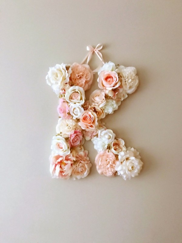 MSDAVF024 – Ballet Pink and Cream Custom Flower Letter – PINK