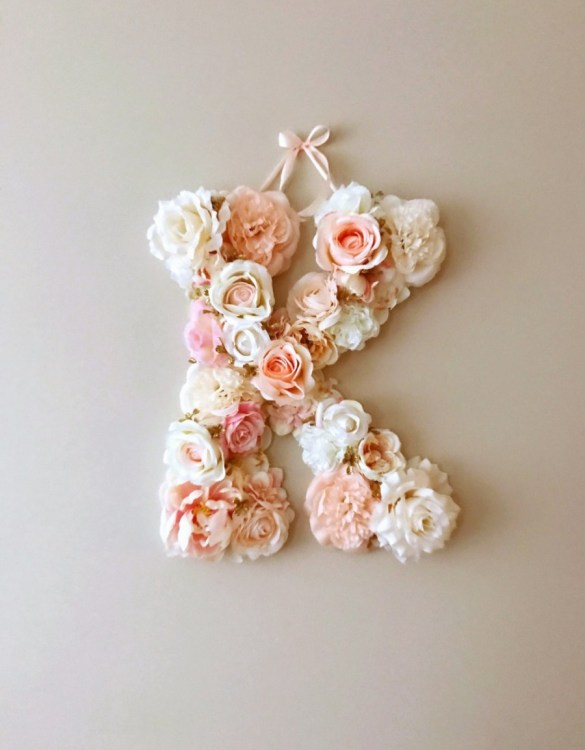 Completely handmade, the Ballet Pink and Cream Custom Flower Letter is a great for decoration at a wedding using the couples initials, and a lovely keepsake for afterwards.