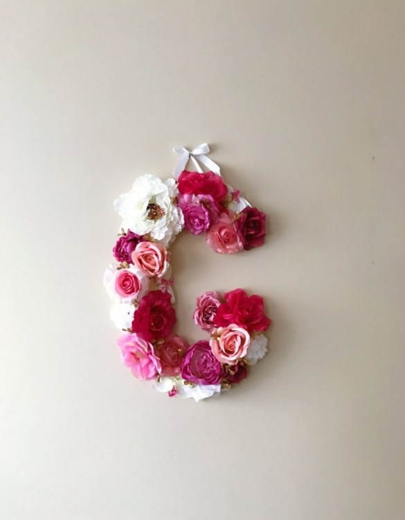 Completely handmade, the Pale Pink and White Custom Flower Letter is a great for decoration at a wedding using the couples initials, and a lovely keepsake for afterwards.
