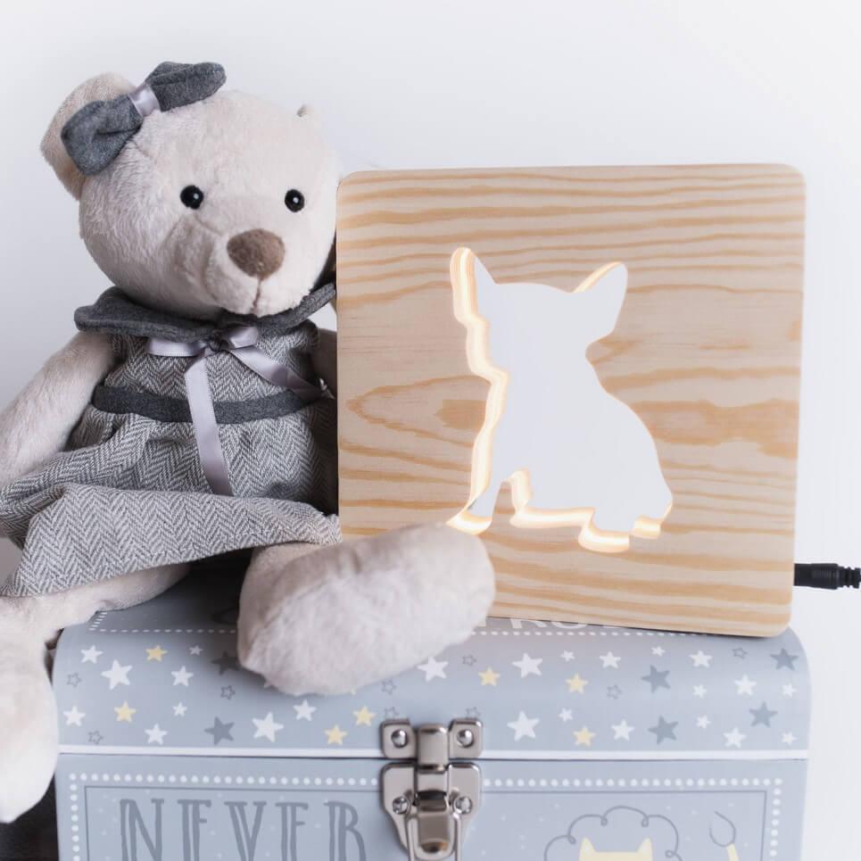 MSHWLH005 – Bulldog Nursery Lamp – Pine Wood
