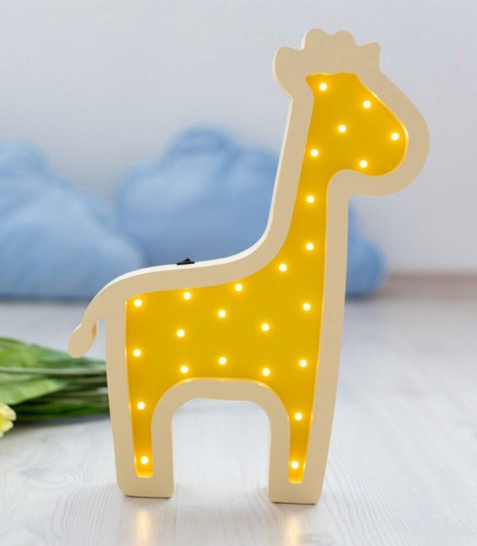 MSHWLH012 – Giraffe Wooden Night Light – Yellow – 4
