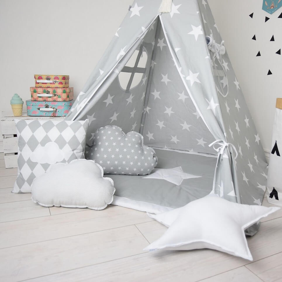 Grey Day Ren Teepee Tent Decorative Play