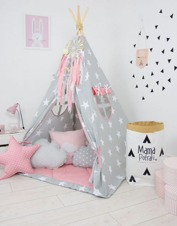 Add the perfect touch to your child's room with the In My Imagination Children's Teepee Tent. Let your little enjoy their own teepee for hours of play time and imagination.