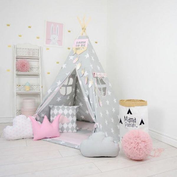 Powder Pink Sky Children's Teepee Tent