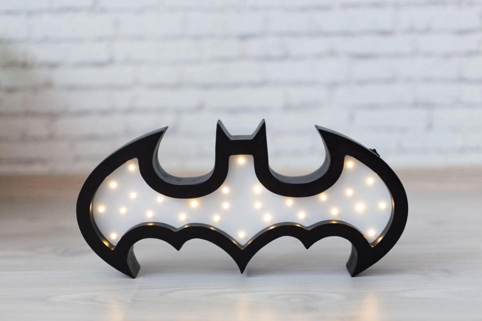 Batman Wooden Night Light – White