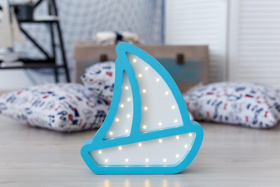 Boat Wooden Night Light – Blue