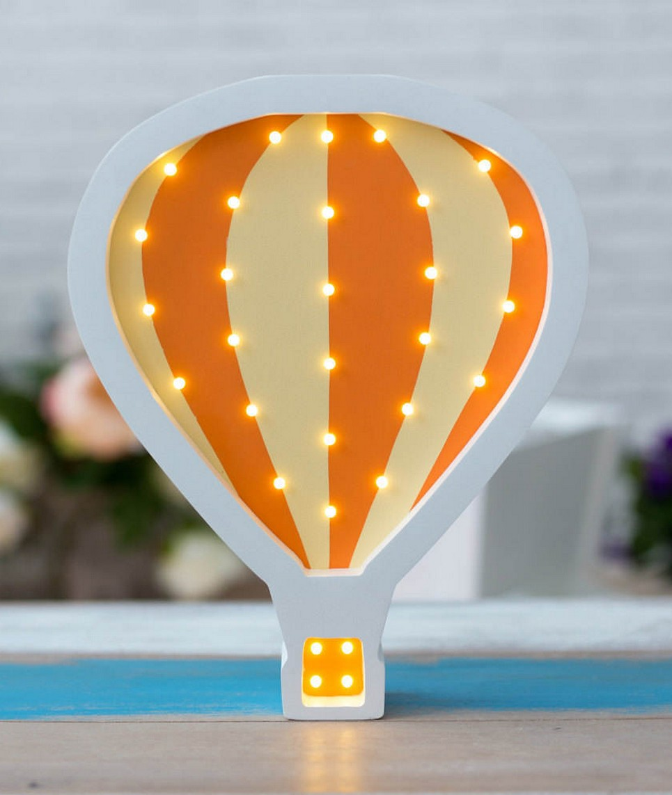 Hot Air Baloon Wooden Night Light – Orange – 4