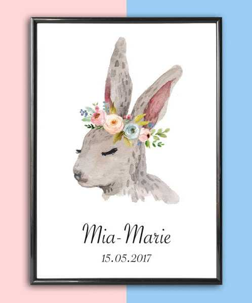 Add some effortless style to your home with the Personalised Name Print Rabbit With Flowers that will compliment your interior décor.