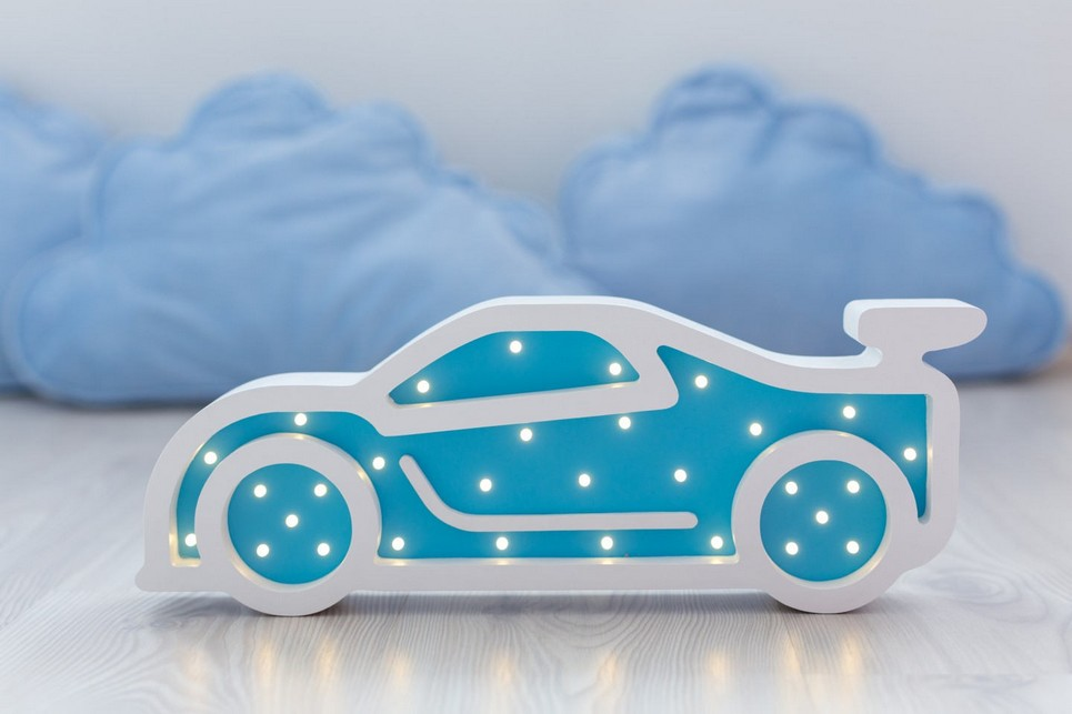 Sportcar Wooden Night Light – Blue