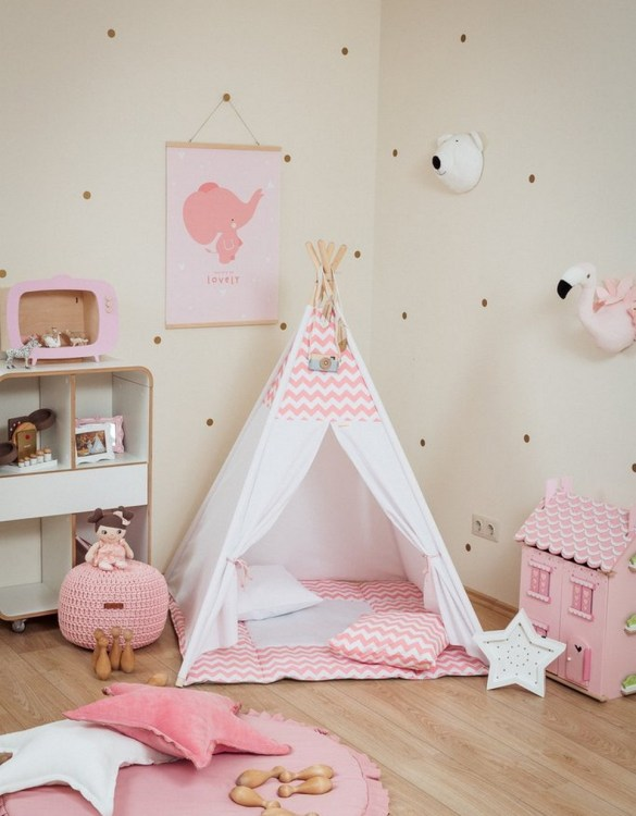 Let your little ones create their own little world with the Pink Chevron Children's Teepee Set. It creates the perfect setting for imaginative role play providing endless hours of fun.