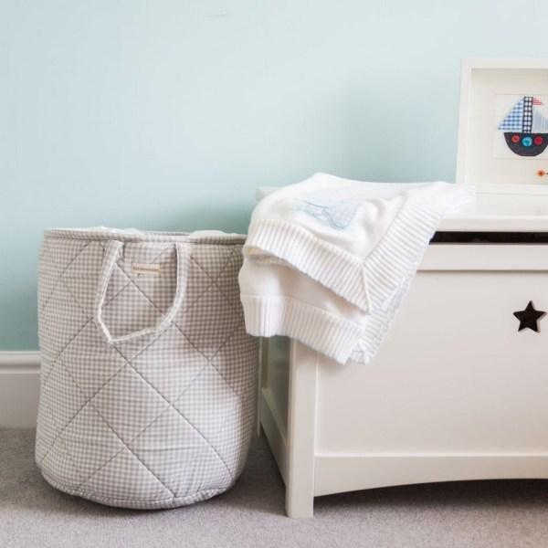 Grey Gingham Children's Laundry Basket_4