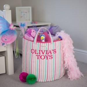 A practical home accessory for a child's bedroom, the Multi-Striped Toy Storage Basket is the perfect storage solution for keeping those runaway toys, books, shoes or laundry at bay.