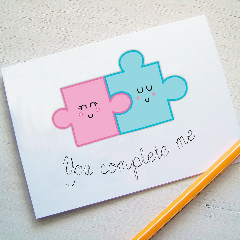 You Complete me Jigsaw Valentines Card