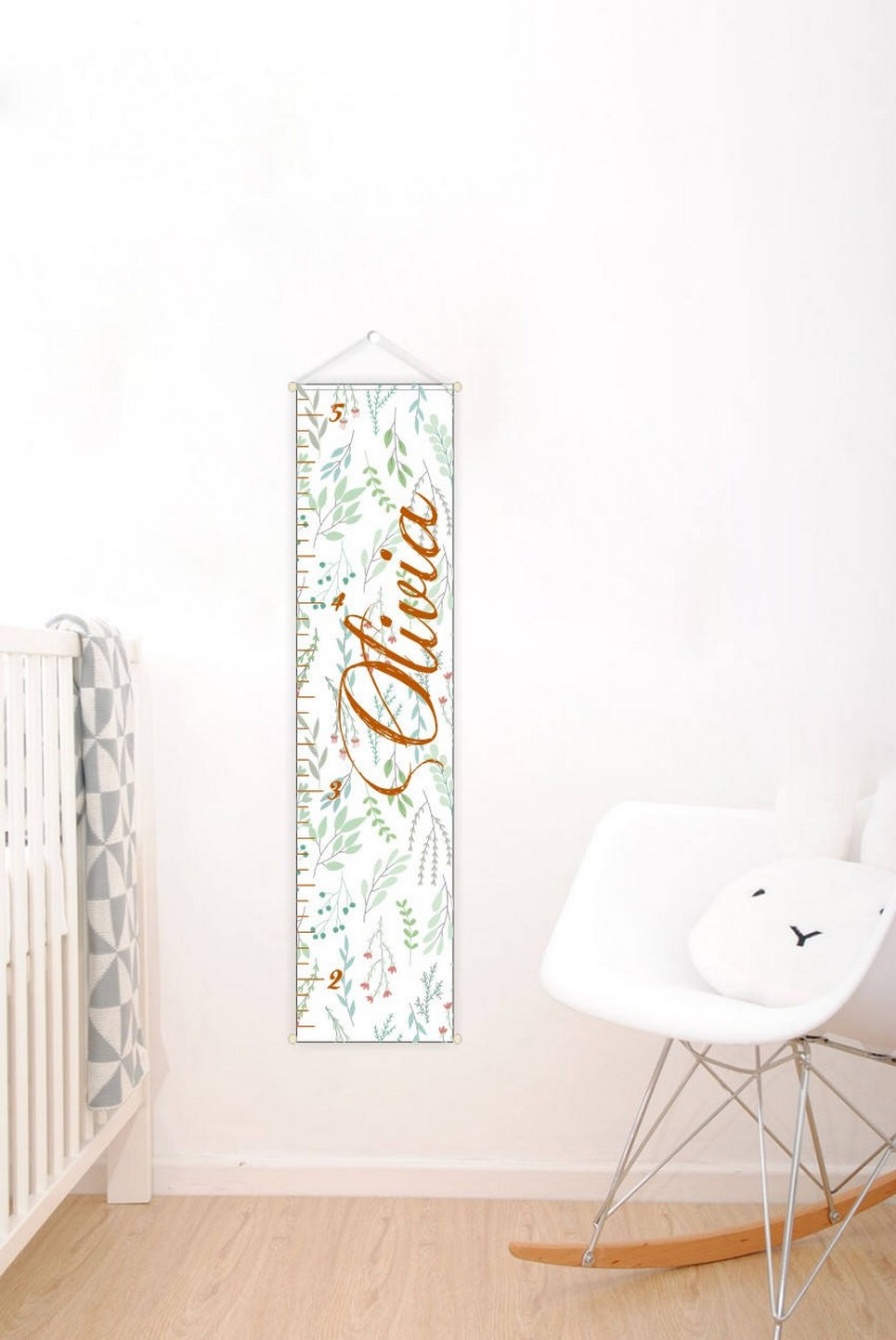 Flowers Personalised Baby Growth Chart