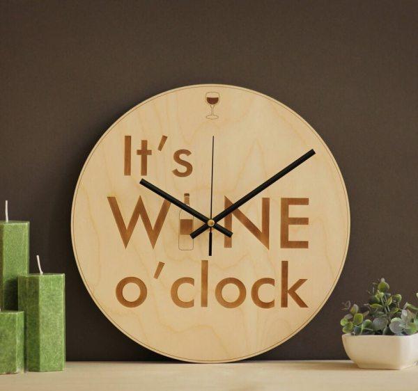 It's Wine O'clock – Wooden Wall Clock