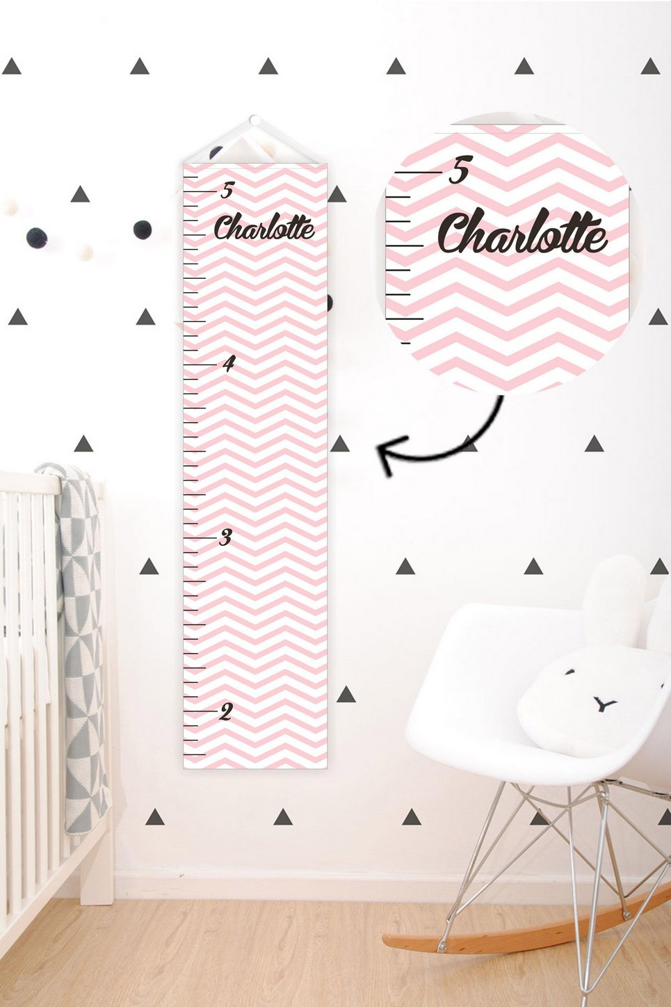 LIGHT PINK CHEVRON PERSONALISED BABY GROWTH CHART ...