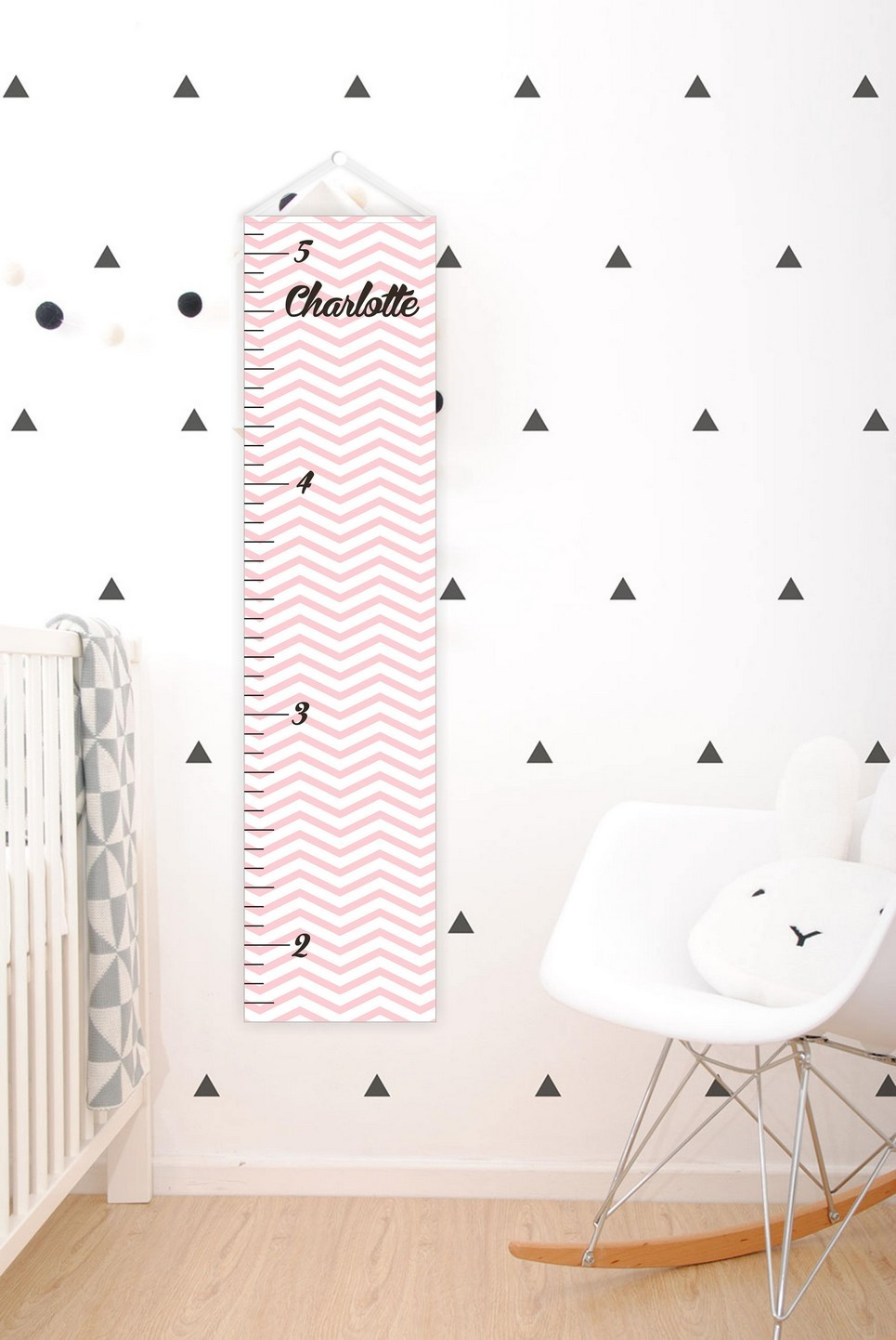 Light Pink Chevron Personalised Baby Growth Chart