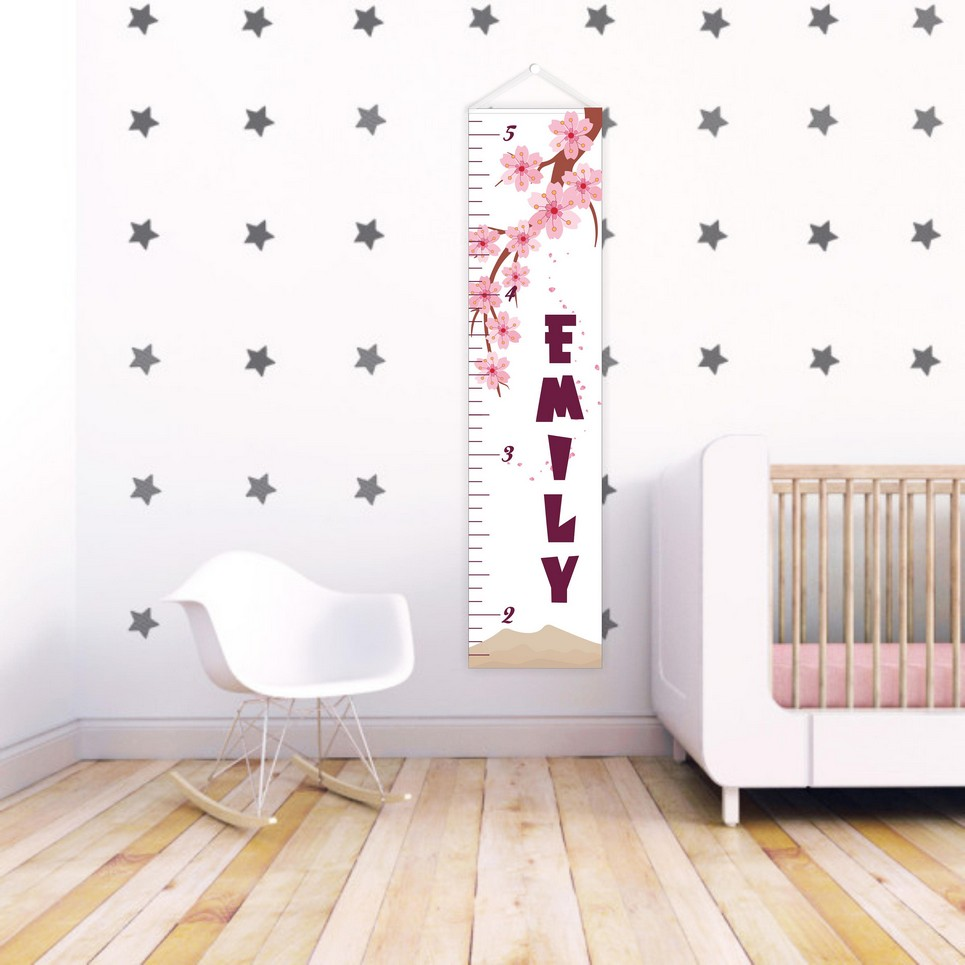 Pink Flowers Personalised Baby Growth Chart – 1