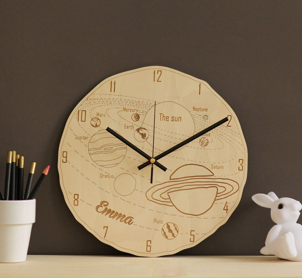 Space Personalised Wooden Wall Clock – 5