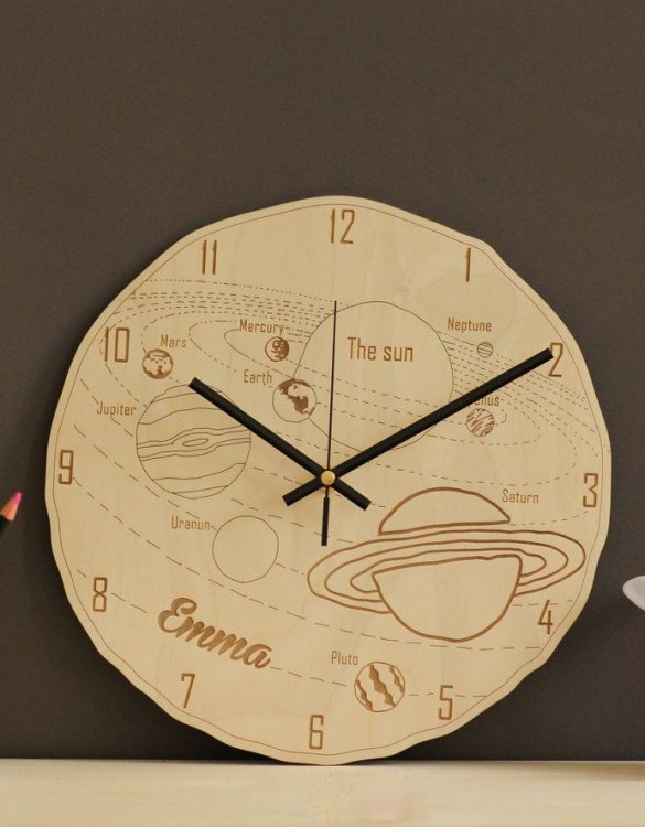 With a sophisticated and functional look, the Space Personalised Wooden Wall Clock will add an element of starry spirit to any room.