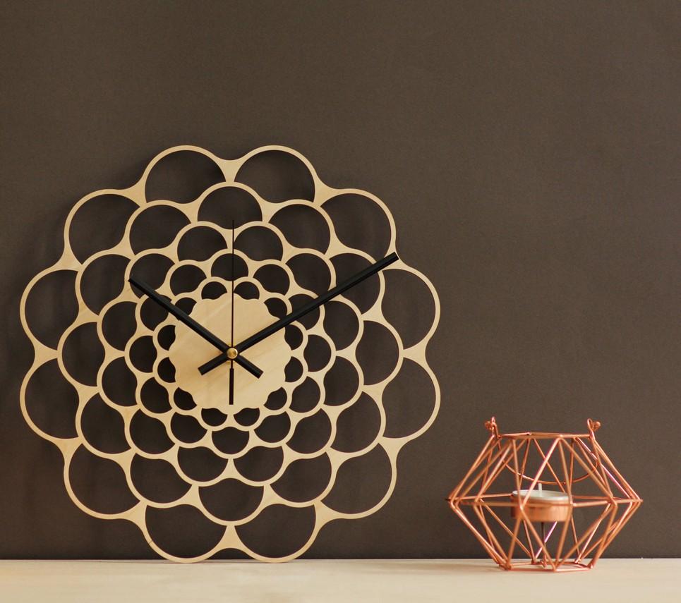 Sunburst Wooden Wall Clock