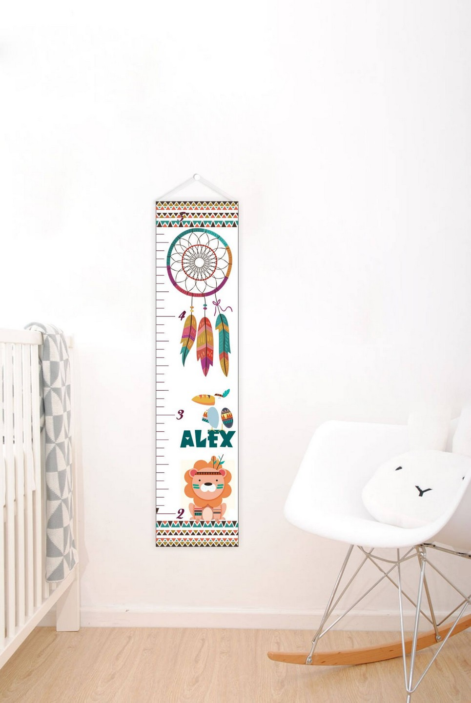 Wild Dreamcatcher Personalised Baby Growth Chart